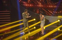 Para śpiew, Muzyczny TV przedstawienie, Pracowniani światła reflektorów, scena Obraz Royalty Free