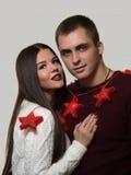 Para świętuje nowego roku ` s wigilię Obraz Stock