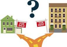 ¿Para alquilar o comprar? Imagen de archivo libre de regalías