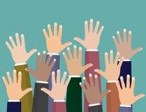 Para arriba aumentadas manos Ofrecerse voluntariamente caridad, concepto de educación, entrenamiento del negocio stock de ilustración