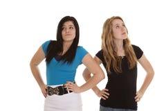 Para arriba pegadas muchachas adolescentes Fotografía de archivo libre de regalías