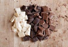 Para arriba tajado chocolate hecho a mano de la alta calidad Fotos de archivo libres de regalías