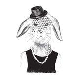 Para arriba vestida muchacha de conejito en estilo del inconformista Fotografía de archivo libre de regalías