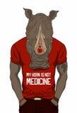Para arriba vestido rinoceronte stock de ilustración