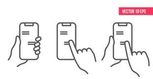 Para av händer som rymmer smartphonen eller mobiltelefonen med pratstund- eller budbärareapplikation på skärmen royaltyfri illustrationer