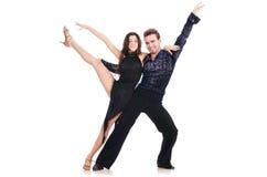 Para av isolerade dansare Royaltyfri Fotografi