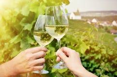 Para av wineglasses Arkivbilder