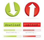 Para baixo-e transferência de arquivo pela rede Fotografia de Stock