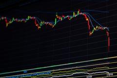 Para baixo gráfico do mercado de valores de ação da tendência Imagens de Stock Royalty Free