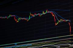 Para baixo gráfico do mercado de valores de ação da tendência Fotos de Stock Royalty Free