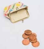 Para baixo a minhas últimas moedas de um centavo. Foto de Stock Royalty Free