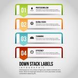 Para baixo a pilha etiqueta Infographic Imagens de Stock