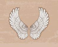 Para biali skrzydła w rocznika stylu Obraz Royalty Free