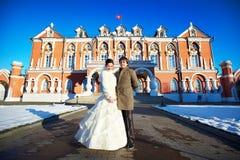Para blisko Petrovsky Putevoy pałac w Moskwa Zdjęcia Stock