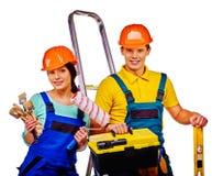 Para budowniczy z budów narzędziami Zdjęcie Royalty Free