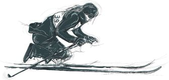 Para Cross-Country Skiing. Para Sport and Movement. An hand draw Royalty Free Stock Image