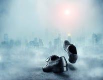 Para czarni męscy klasyków buty Zdjęcie Stock