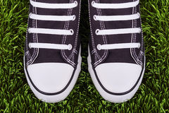 Para czarny i biały sneakers na zielonej łące Obrazy Stock