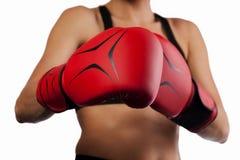 Para czerwone bokserskie rękawiczki, uderza pięścią pojęcie Obraz Stock