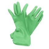 Para czerwone gumowe cleaning rękawiczki odizolowywać na bielu Zdjęcie Stock