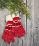 Para czerwone rękawiczki wiesza na drewnianym tle Obrazy Royalty Free