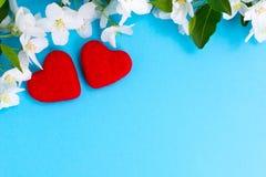 Para czerwoni kochający serca kłama wpólnie Obraz Royalty Free