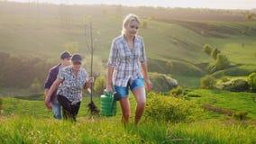 Para diversas gerações a família vem com uma plântula da árvore, uma pá e uma lata molhando Em montes verdes pitorescos video estoque