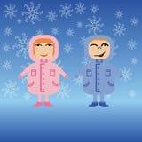 Para dzieci w zim kurtkach Zdjęcia Royalty Free