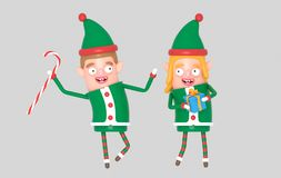 Para elfa Santa śliczni boże narodzenia trzyma prezent ilustracja 3 d royalty ilustracja