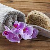 Para exfoliate y limpiar con el balneario de la suavidad en casa Foto de archivo libre de regalías