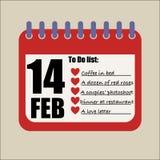 Para fazer 14 de fevereiro a lista enchida acima ilustração stock