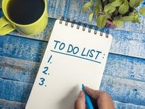 Para fazer a lista, conceito inspirador das citações das palavras da programação do negócio imagem de stock