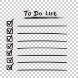 Para fazer o ícone da lista com a mão tirada text Lista de verificação, vecto da lista de tarefa Imagem de Stock