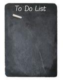Para fazer o conceito da lista usando o giz no quadro-negro da ardósia Foto de Stock