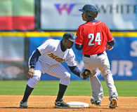 Para fora na segunda base - basebol Imagem de Stock Royalty Free