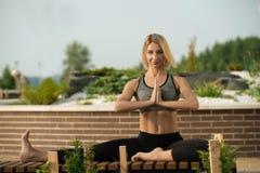 Para fora--portas praticando do tiro da ioga da mulher magro Imagem de Stock