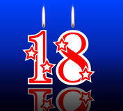 18 para fora velas do aniversário Fotos de Stock