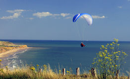 Para- glider, Compton Bay. Para- glider over Compton Bay, Isle of Wight Royalty Free Stock Photo