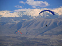 Para gliders flying over Macedonia Stock Photo