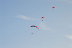 Para-gliders Formation Flying Stock Image