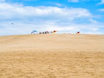 Para gliding at Jockey`s Ridge State Park. The tallest sand dunes at East Coast Royalty Free Stock Image