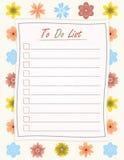 Para hacer el documento de la lista sobre el fondo del estampado de plores - plantilla de motivación de la inscripción Imagen de archivo