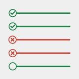 Para hacer líneas de la lista con las cajas de control lista de control para la nota compruebe el mA Fotografía de archivo libre de regalías