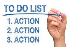 Para hacer la lista - acción, acción, acción Imagen de archivo libre de regalías