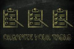 Para hacer la lista con las tareas que son marcadas progresivamente, concepto o Foto de archivo libre de regalías