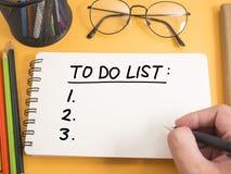 Para hacer la lista, concepto de motivación de las citas de las palabras del horario del negocio foto de archivo libre de regalías
