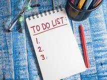 Para hacer la lista, concepto de motivación de las citas de las palabras del horario del negocio imagen de archivo libre de regalías