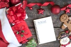 Para hacer la lista en cuaderno con el fondo de la Navidad Imagen de archivo
