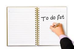 Para hacer la lista para usted plan de márketing Imagen de archivo