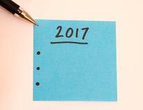 Para hacer la lista por el Año Nuevo en azul Imagen de archivo